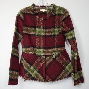 Hem & Thread Fringe Plaid Jacket